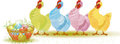 Free Four Hens With Easter Eggs Royalty Free Stock Image - 23673966