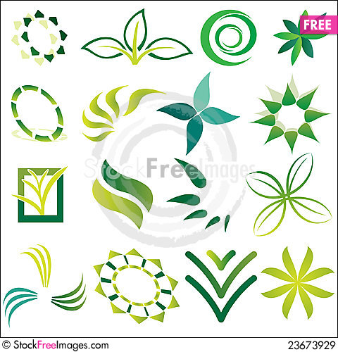 Free Green Ecological Logos Royalty Free Stock Images - 23673929