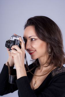 Free Young Girl With Photo Camera Royalty Free Stock Images - 23671729