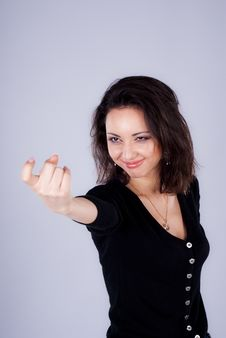 Girl With Follow Me Gesture. Stock Photography