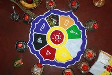 Free Colorful Rangoli Art, Hindu Puja Items, Flowers Stock Photo - 23672020