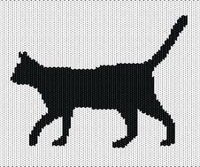 Free Silhouette Of Cat From Knitted Texture Royalty Free Stock Photography - 23672627