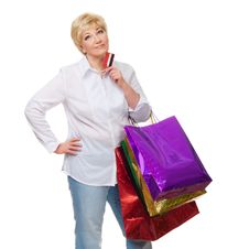 Free The Woman With A Credit Card And Purchases Royalty Free Stock Photography - 23672967
