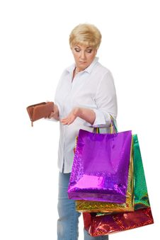 Free The Woman With Astonishment Looks At Purchases Stock Photos - 23672983