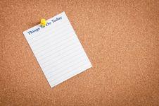 Mics Notes On Corkboard Stock Image