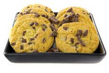 Free Chocolate Cookies On A Black Plate Stock Photos - 23677763