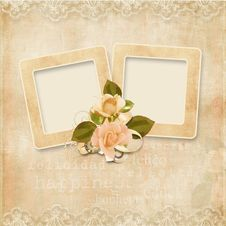 Frame On The The Vintage Lace Background Stock Image