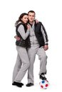 Free Young Sportive Couple With Soccer Ball Royalty Free Stock Photography - 23687277