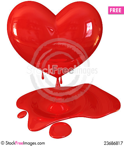 Free Red Melting Heart Royalty Free Stock Photography - 23686817