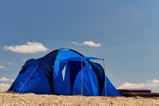 Free Blue Tourist Tent Royalty Free Stock Photos - 23682318