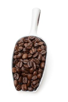 Free Coffee Beans In Metal Scoop Royalty Free Stock Images - 23684219