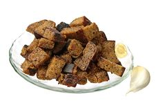 Bread Rusks With Garlic Stock Photo