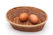 Free Two Eggs In Wicker Basket Royalty Free Stock Photography - 23684287