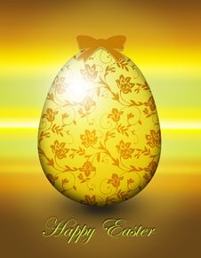 Flower Shining Easter Egg Card With Gold Elements Royalty Free Stock Photos