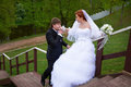 Free Bride And Groom On Stair Royalty Free Stock Image - 23698706