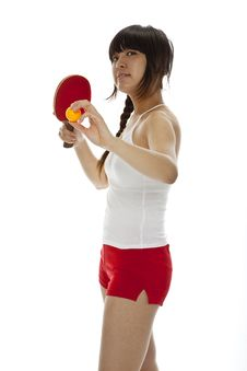 Free Young Asian Woman With A Ping-pong Racket Royalty Free Stock Image - 23694546