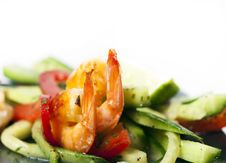 Free Green Salad With Shrimps Royalty Free Stock Photos - 23694908