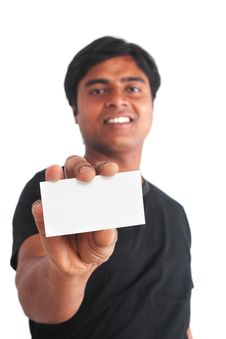 Free Young Indian Guy Holding Business Card Stock Photos - 23698573