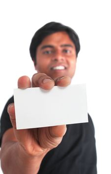 Indian Young Male Holding Business Card Royalty Free Stock Photo