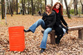 Free Red Dustbin And Girls Royalty Free Stock Photos - 2371428