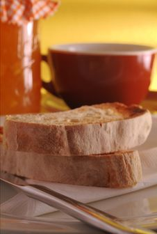 Free Ciabatta Toast With Marmalade Royalty Free Stock Photography - 2370477