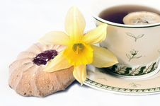 Free Tea Cup With Lemon And Cookie Royalty Free Stock Photography - 2373387