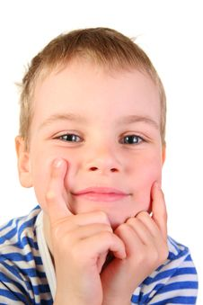 Free Smile Boy With Hands Stock Image - 2374001