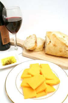 Free Wine And Cheese On White Royalty Free Stock Photography - 2374127