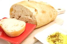 Free Bread With Olive Oil On White Stock Photos - 2374533