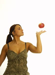 Free Healthy Girl And Apple Stock Photo - 2376100