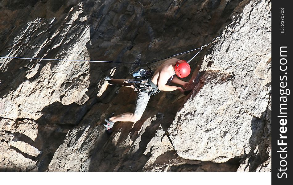 Climber Holding On