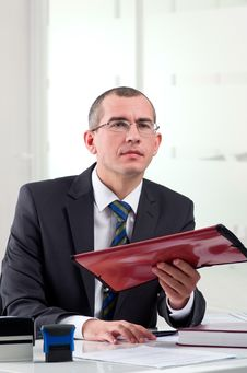 Lawyer On His Workplace Stock Photo