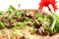 Pasta With Greens And Slices Of Meat Royalty Free Stock Image