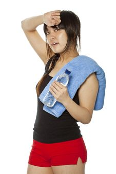 Free Asian Girl With Towel And Bottle Of Water Royalty Free Stock Photo - 23705585