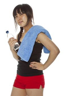 Free Asian Girl With Towel And Bottle Of Water Royalty Free Stock Images - 23705779