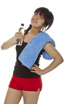 Free Young Asian Woman With A Bottle Of Water Stock Photos - 23706193