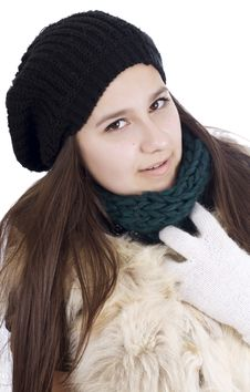 Free Cheerful Woman Clothing In Warm Hat. Royalty Free Stock Photo - 23706355