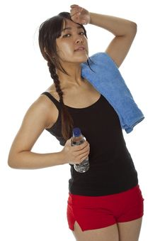 Free Young Asian Woman With A Ping-pong Racket Isolated On White Stock Photography - 23706592