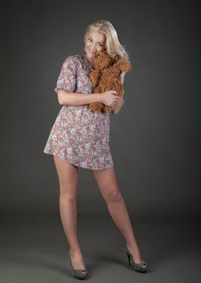 Free Beautiful Blonde Woman With Teddy Bear Stock Image - 23708471