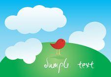 Free Greeting Card With Cute Bird Stock Photos - 23708903