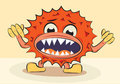 Free Cartoon Funny Angry Bacillus Stock Image - 23715561