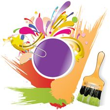 Free Paint Brush With Color Lines Royalty Free Stock Photo - 23711225