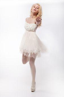 Free Emotions - Running Lovely Girl Blonde On White Stock Photos - 23712323