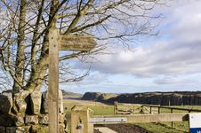 Free Hadrians Wall Sign Post Stock Photography - 23714262