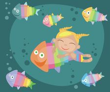 Tropical Fishes And Girl Stock Photos