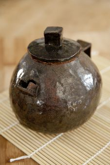 Free Handmade Rustic Ceramic Teapot Stock Photo - 23718700