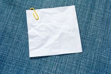 Blank White Note On Blue Jeans Texture Stock Images