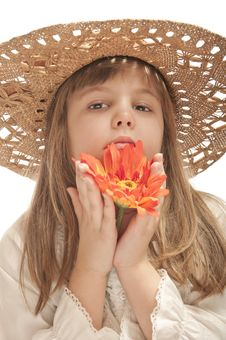 Free Girl With  Flower Royalty Free Stock Image - 23727646