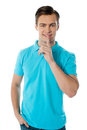 Free Silence Gesture By A Young Smiling Guy Stock Photo - 23732510