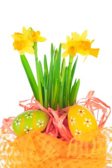 Easter Eggs And Spring Narcissus &x28;daffodil&x29; Stock Photography